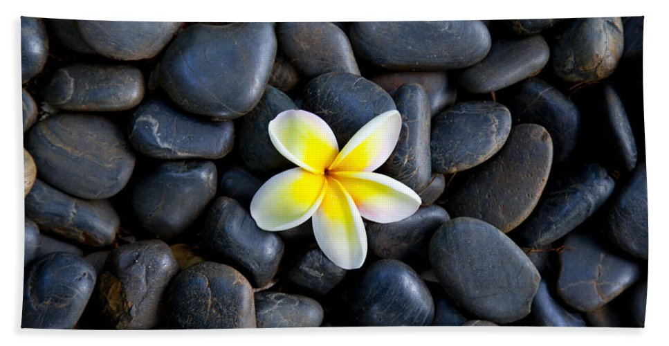 Plumeria Hand Towel featuring the photograph Plumeria Pebbles by Sean Davey