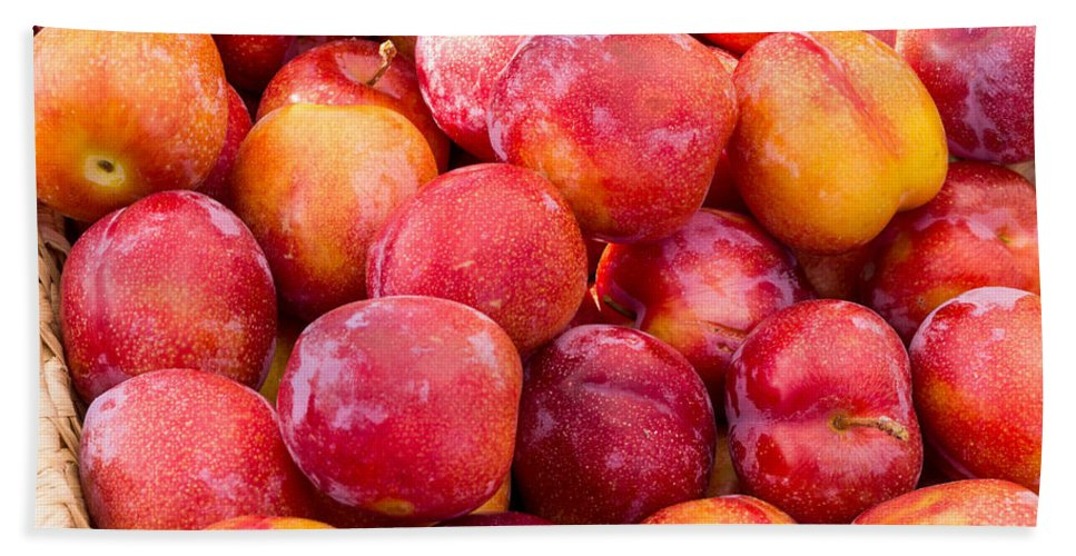 Food Bath Sheet featuring the photograph Plums In A Basket by John Trax