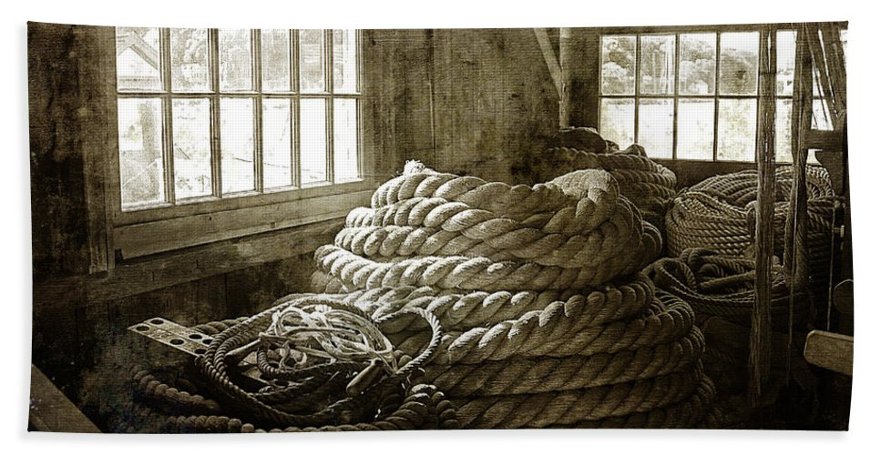 Cindi Ressler Hand Towel featuring the photograph Plymouth Cordage Company Ropewalk by Cindi Ressler