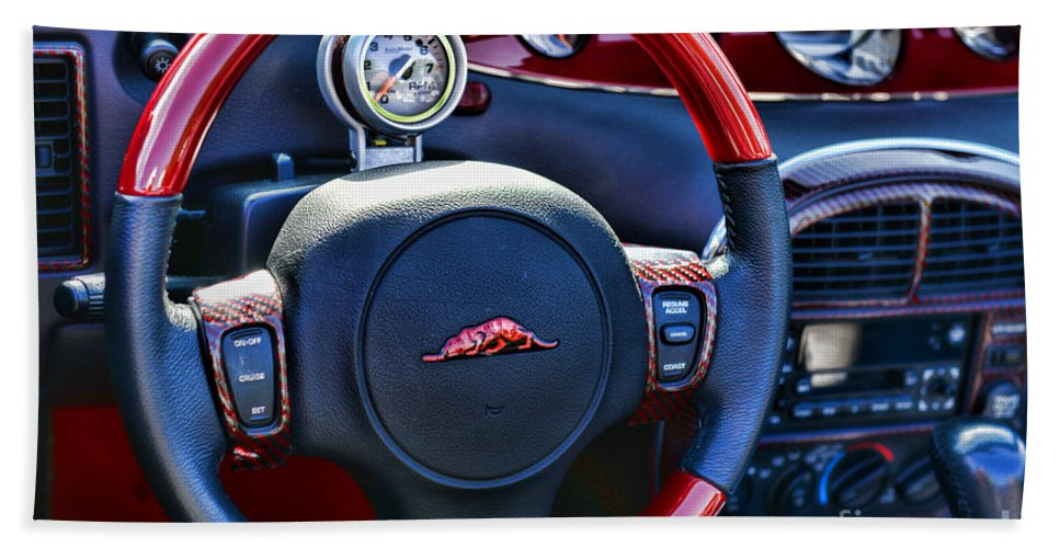 Paul Ward Bath Sheet featuring the photograph Plymouth Prowler Steering Wheel by Paul Ward