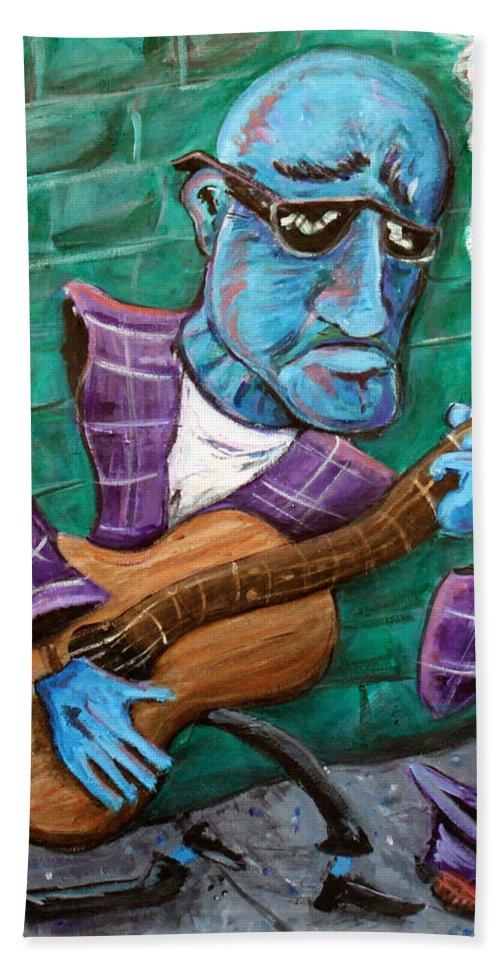 Jazz Music Art The Blues Musician Hand Towel featuring the painting Po Man by Jason Gluskin