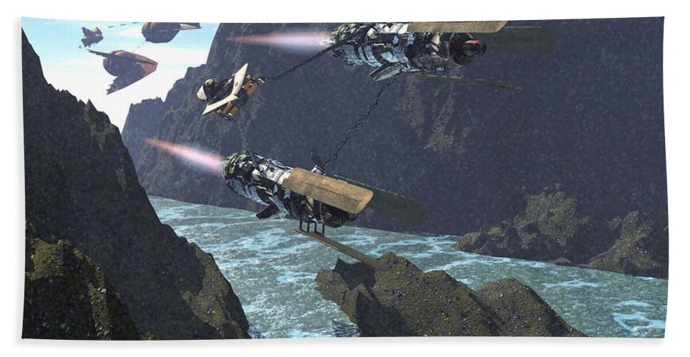Digital Art Hand Towel featuring the digital art Pod Racers Competing For The Lead by Michael Wimer