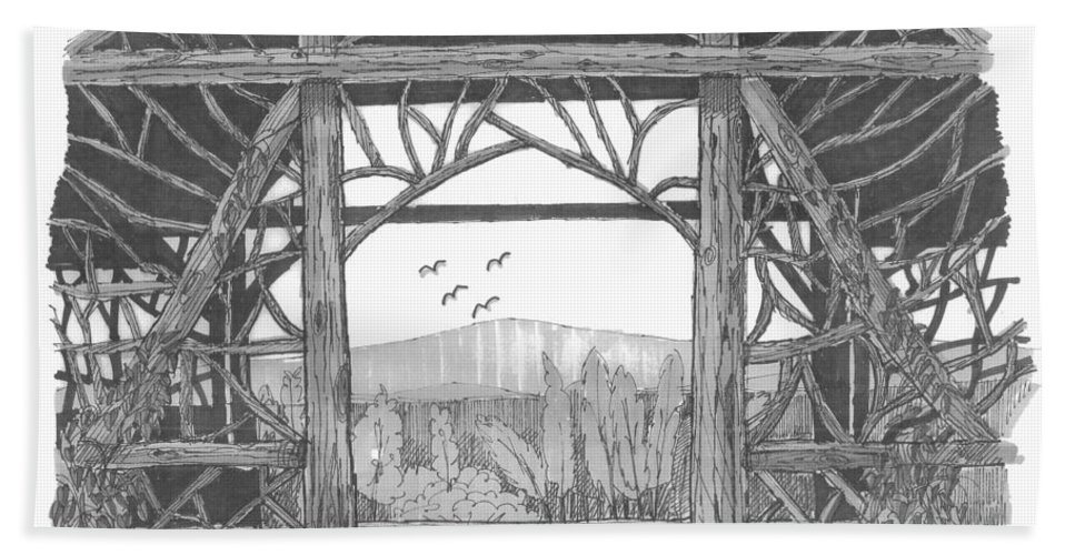 Pavilion Hand Towel featuring the drawing Poet's Walk 2 by Richard Wambach