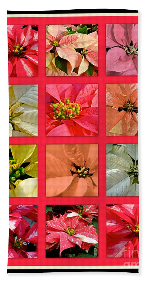 Poinsettia Hand Towel featuring the photograph Poinsettias by Mother Nature