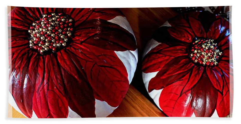 Poinsettias Hand Towel featuring the photograph Poinsettias - Handmade - Crafts - Pumpkins by Barbara Griffin
