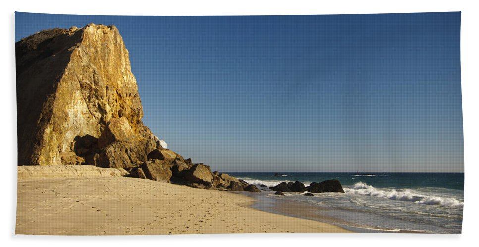 3scape Photos Bath Towel featuring the photograph Point Dume at Zuma Beach by Adam Romanowicz
