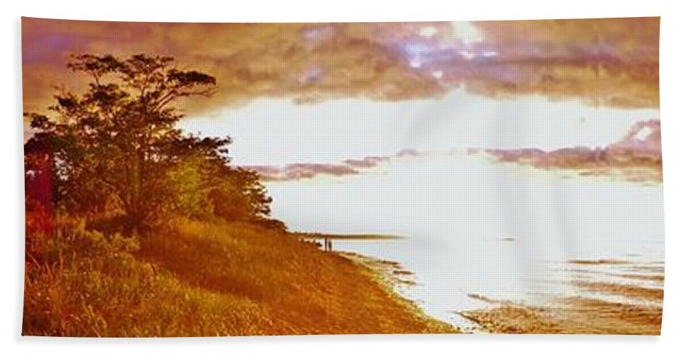 Bath Sheet featuring the photograph Point Iroquois Pano Sunset by Daniel Thompson