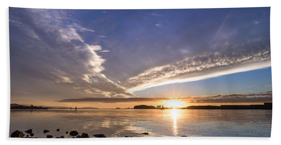 Humboldt Bay Hand Towel featuring the photograph Point Of The Sunset by Greg Nyquist
