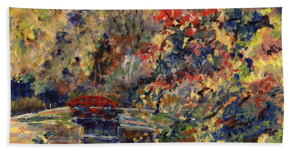 Point Pleasant Lock Bath Sheet featuring the painting Point Pleasant Lock In Bucks County by Pamela Parsons