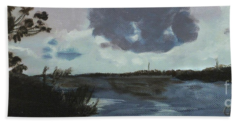 Blue Skies Hand Towel featuring the painting Pointe Aux Chein Blue Skies by Carol Oufnac Mahan