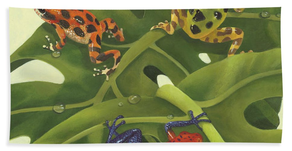 Frogs Hand Towel featuring the painting Poison Pals by Laura Regan