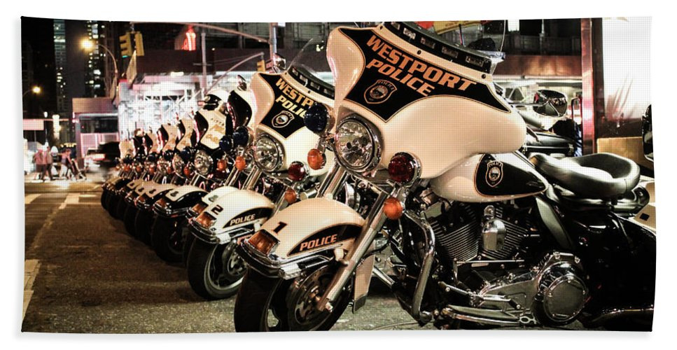 Police Bath Sheet featuring the photograph Police Bikes In New York by Sam Garcia
