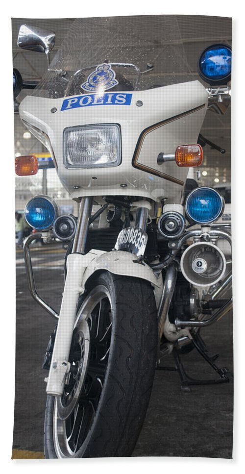 Honda Bath Sheet featuring the photograph Police Honda by Miguel Winterpacht
