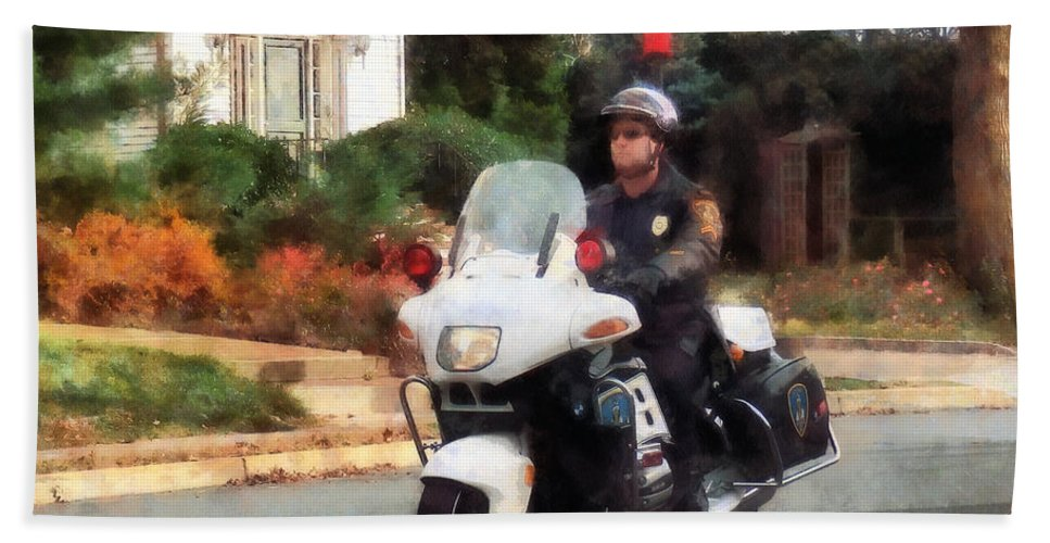 Police Bath Sheet featuring the photograph Police - Motorcycle Cop On Patrol by Susan Savad