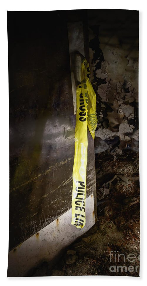 Door Bath Sheet featuring the photograph Police Tape by Margie Hurwich