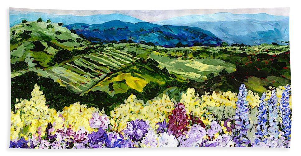 Landscape Hand Towel featuring the painting Pollinators Ravine by Allan P Friedlander