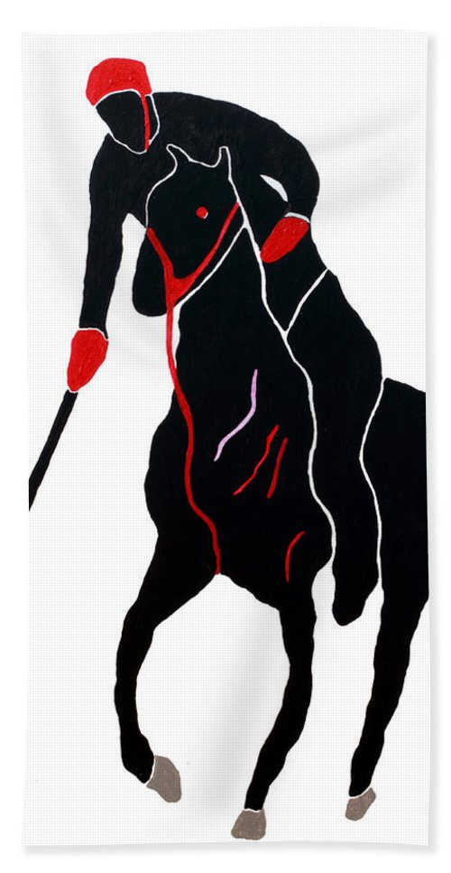 Polo Hand Towel featuring the painting Polo Player by Andrew Petras