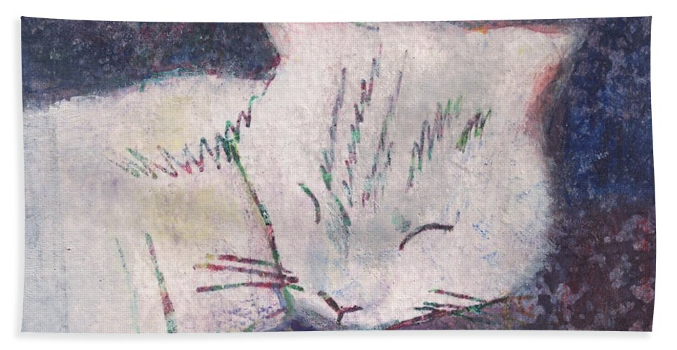 Cat Hand Towel featuring the painting Poloma Sleep2 by James Raynor