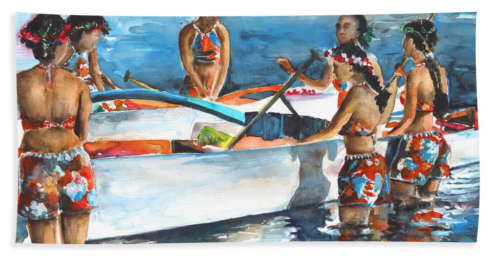 Travel Bath Sheet featuring the painting Polynesian Vahines Around Canoe by Miki De Goodaboom