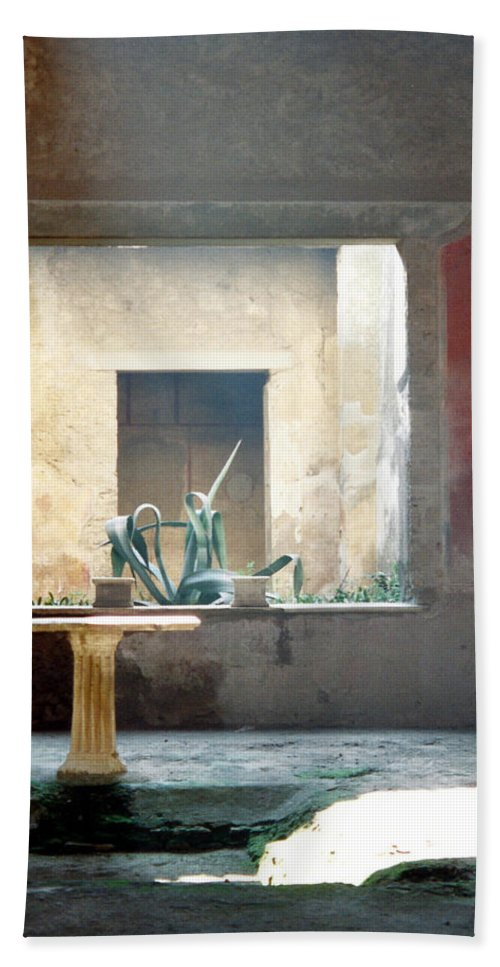 Pompeii Bath Sheet featuring the photograph Pompeii Courtyard by Marna Edwards Flavell