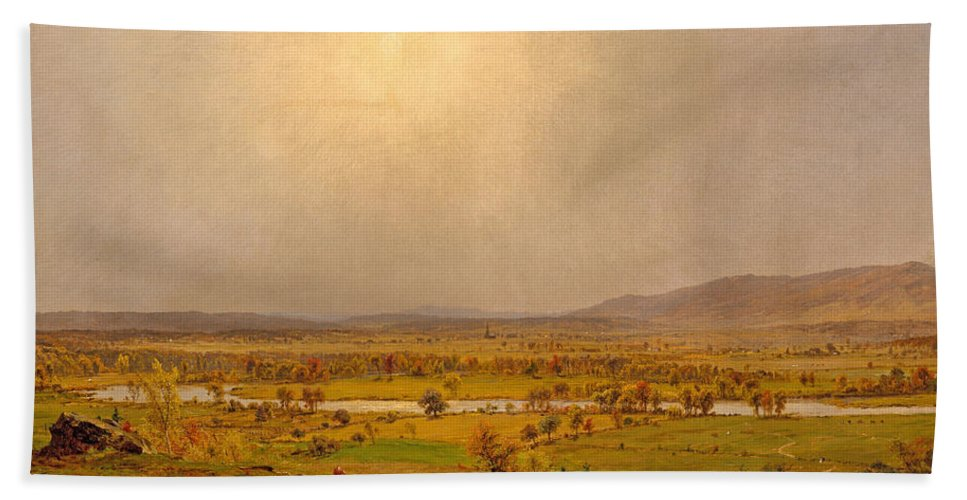 Jasper Francis Cropsey Bath Sheet featuring the painting Pompton Plains. New Jersey by Jasper Francis Cropsey
