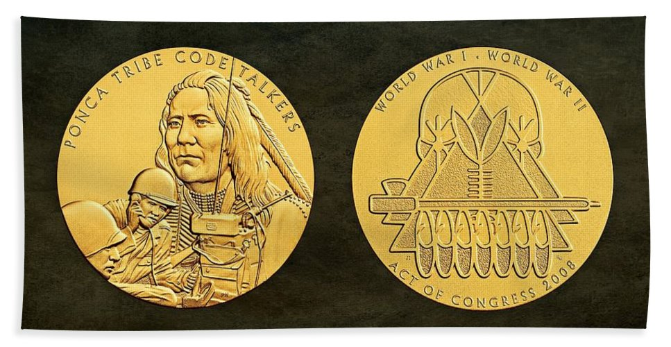 Ponca Tribe Bath Sheet featuring the photograph Ponca Tribe Code Talkers Bronze Medal Art by Movie Poster Prints