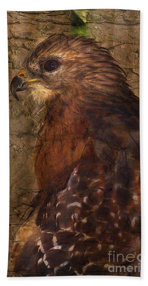 Hawk Bath Sheet featuring the photograph Ponce Inlet Hawk by Deborah Benoit