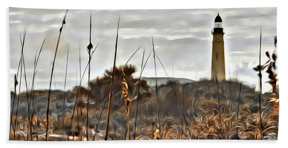Lighthouse Ponce Inlet Florida Dunes Scenic Bath Sheet featuring the photograph Ponce Inlet Lighthouse From The Dunes by Alice Gipson