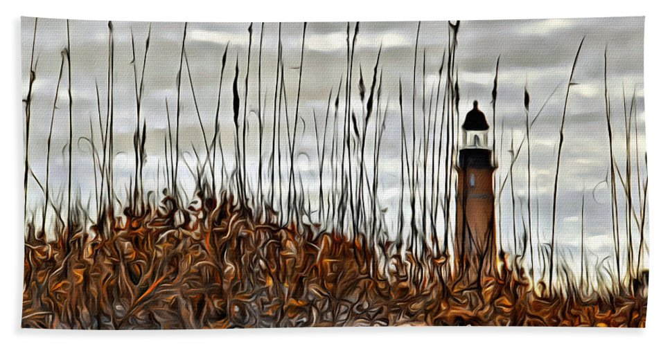 Lighthouse Ponce Inlet Florida Beach Dune Hand Towel featuring the photograph Ponce Inlet Lighthouse In Sea Grass by Alice Gipson