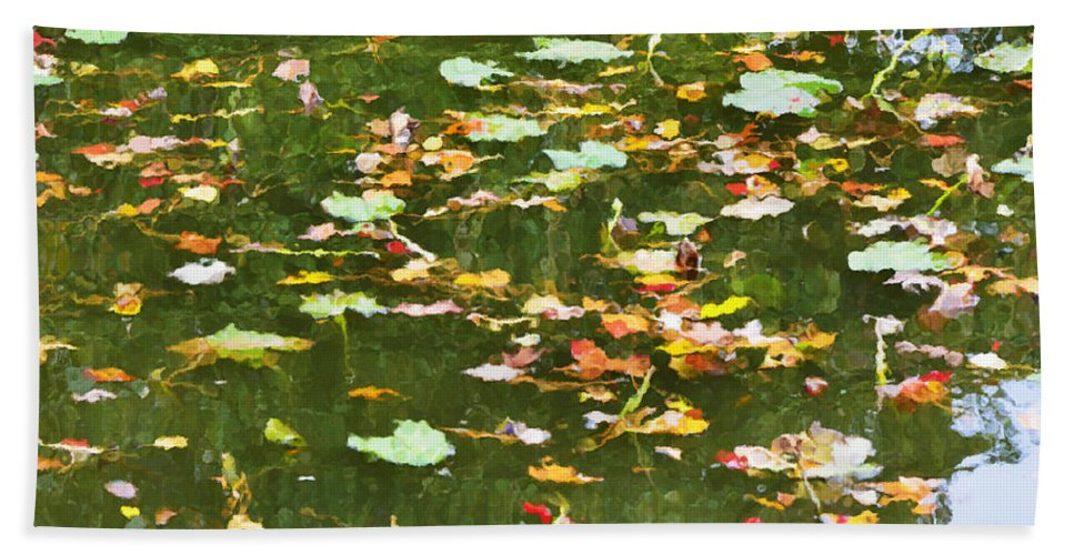 Pond Hand Towel featuring the painting Pond 2 by Jeelan Clark