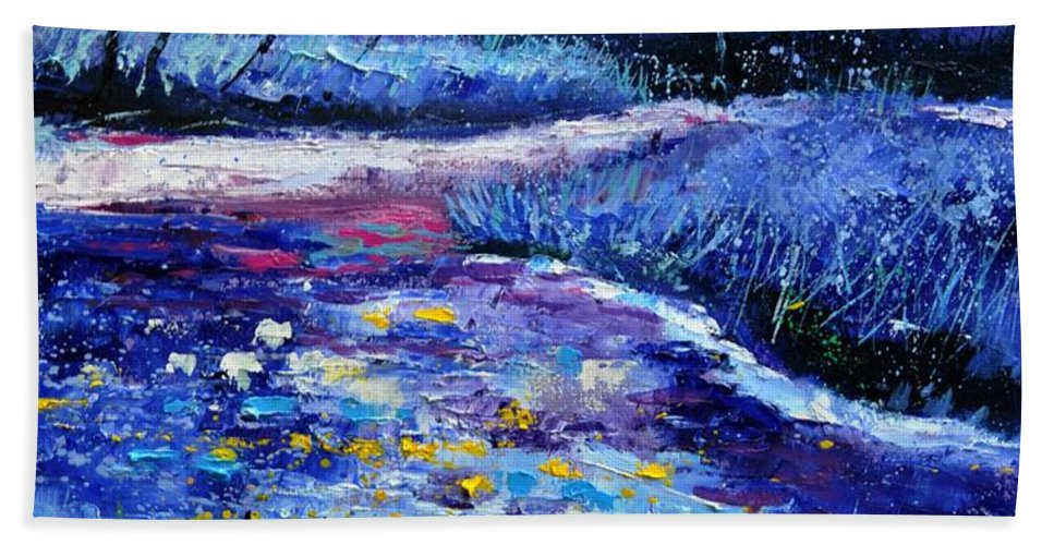 Landscape Hand Towel featuring the painting Pond 563111 by Pol Ledent