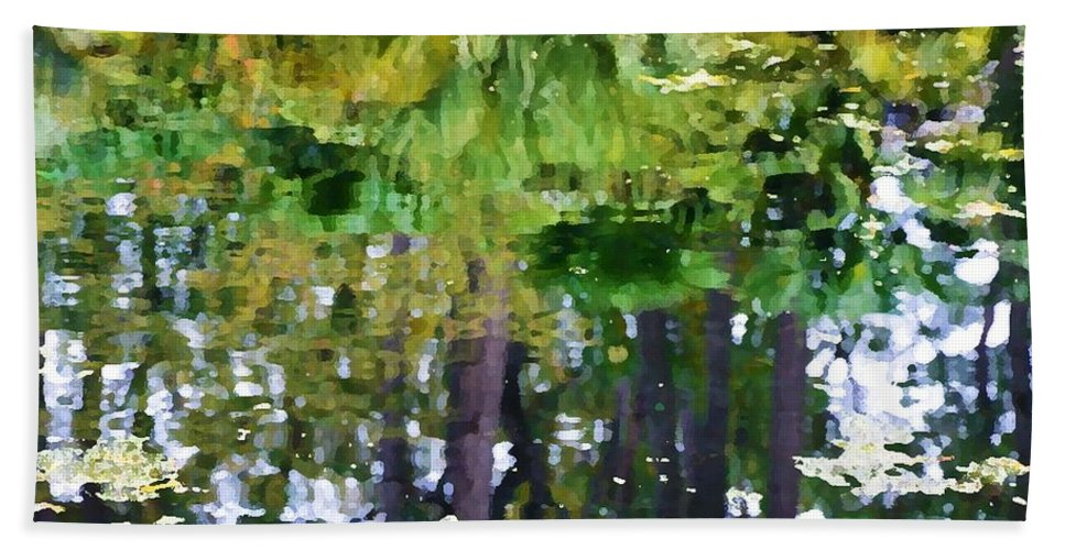 Pond Hand Towel featuring the painting Pond 7 by Jeelan Clark