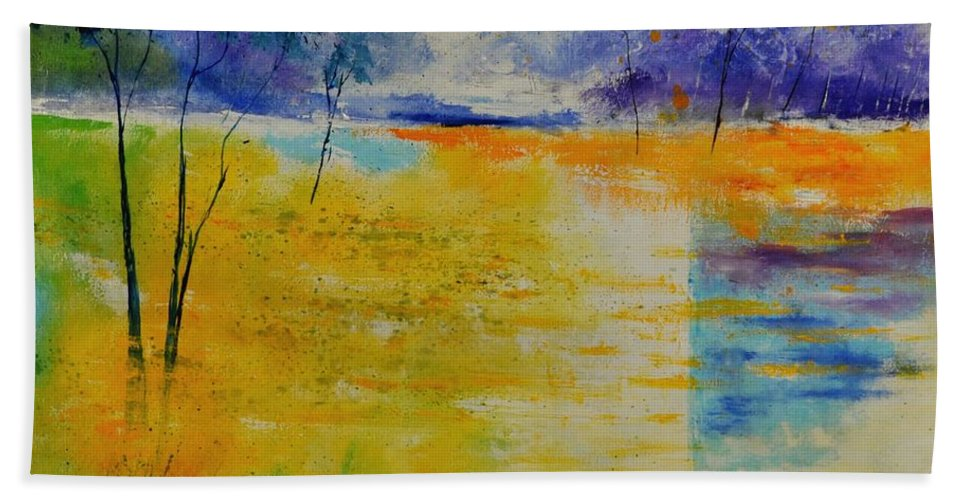 Landscape Hand Towel featuring the painting Pond 883120 by Pol Ledent