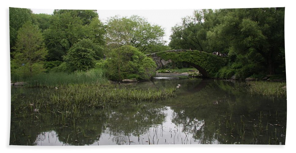 Pond Bath Sheet featuring the photograph Pond And Bridge by Christiane Schulze Art And Photography