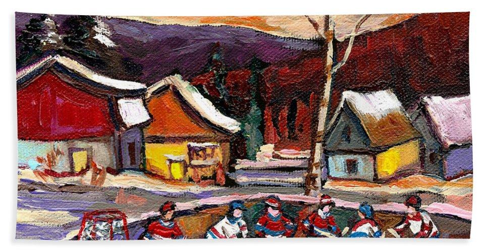 Pond Hockeybirch Tree And Mountain Bath Sheet featuring the painting Pond Hockey Birch Tree And Mountain by Carole Spandau
