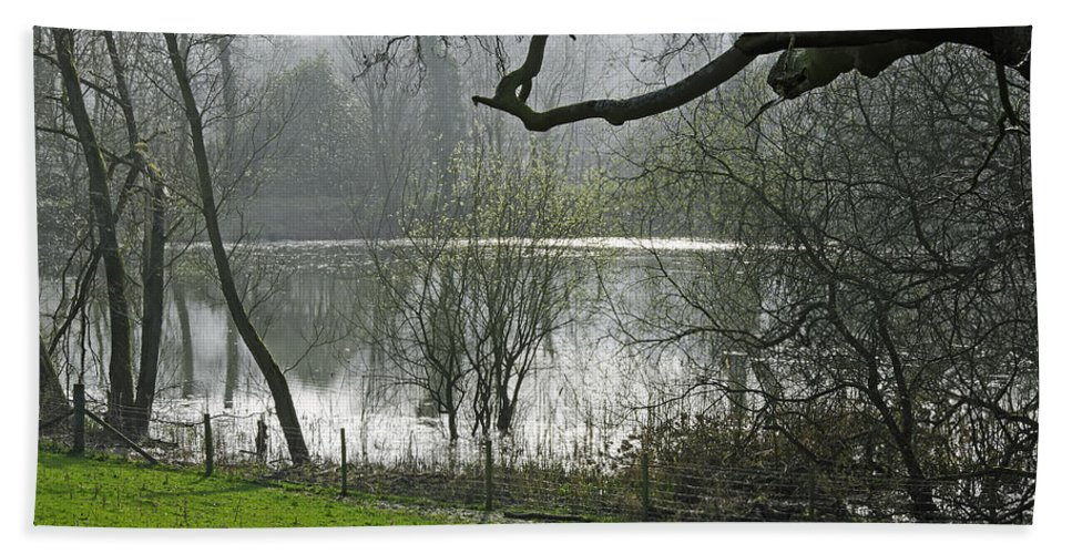 Bright Bath Sheet featuring the photograph Pond Near Home Farm - Ilam by Rod Johnson