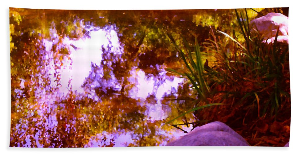 Landscapes Bath Towel featuring the painting Pond Reflextions by Amy Vangsgard