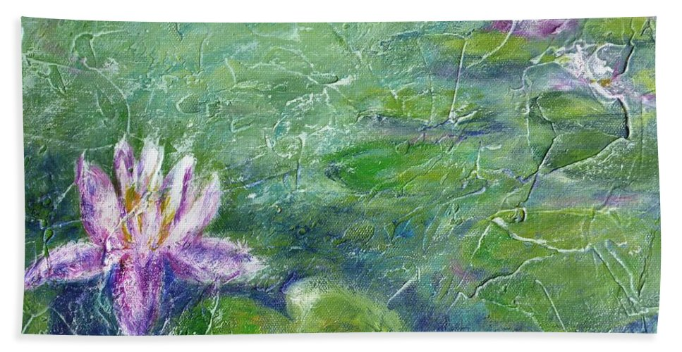 Water Lily Hand Towel featuring the painting Green Pond With Water Lily by Cristina Stefan