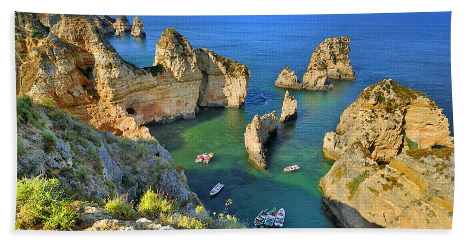 Beach Bath Sheet featuring the photograph Ponta De Piedade Coast II by Guido Montanes Castillo