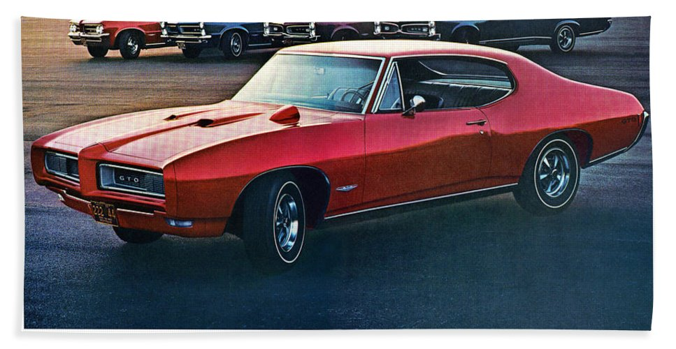 1968 Hand Towel featuring the digital art Pontiac Gto - 1964 1965 1966 1967 1968 by Digital Repro Depot