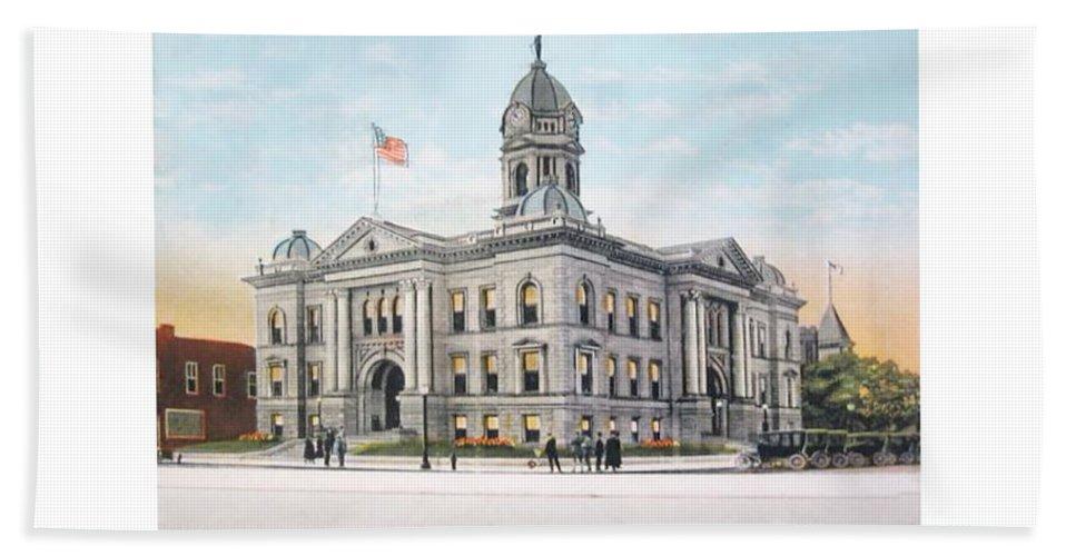 Pontiac Bath Sheet featuring the digital art Pontiac Michigan - Ponitiac Court House - 1910 by John Madison