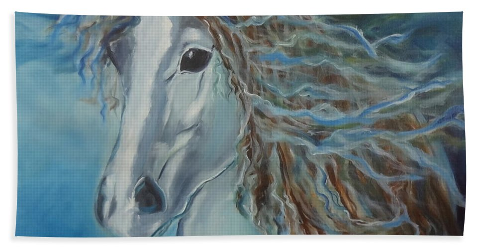 Abstract Equine Print Bath Sheet featuring the painting Pony by Jenny Lee