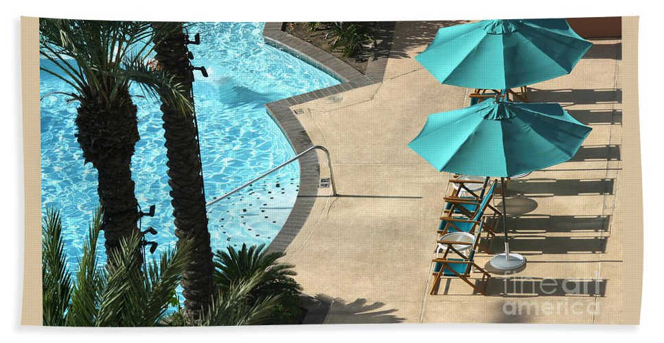 Vacation Bath Sheet featuring the photograph Pooldeck1145b by Gary Gingrich Galleries