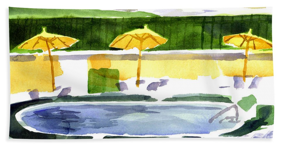 Poolside Bath Sheet featuring the painting Poolside by Kip DeVore