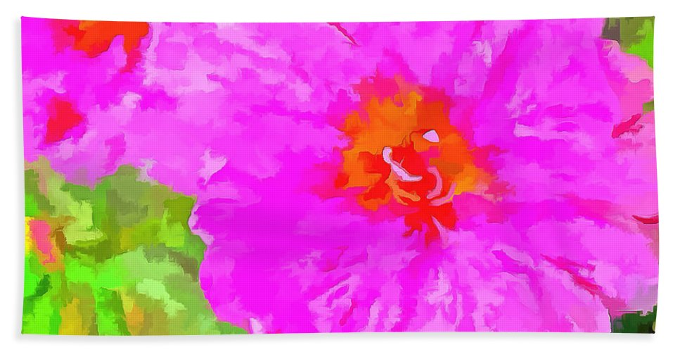 Digitized Photo Hand Towel featuring the photograph Pop Art Floral by Mario Carini