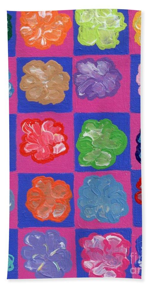 Pink Bath Sheet featuring the painting Pop Flowers by Melissa Vijay Bharwani