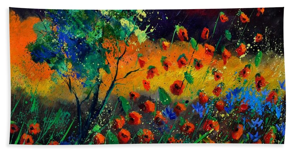 Landscape Hand Towel featuring the painting Poppies 774111 by Pol Ledent