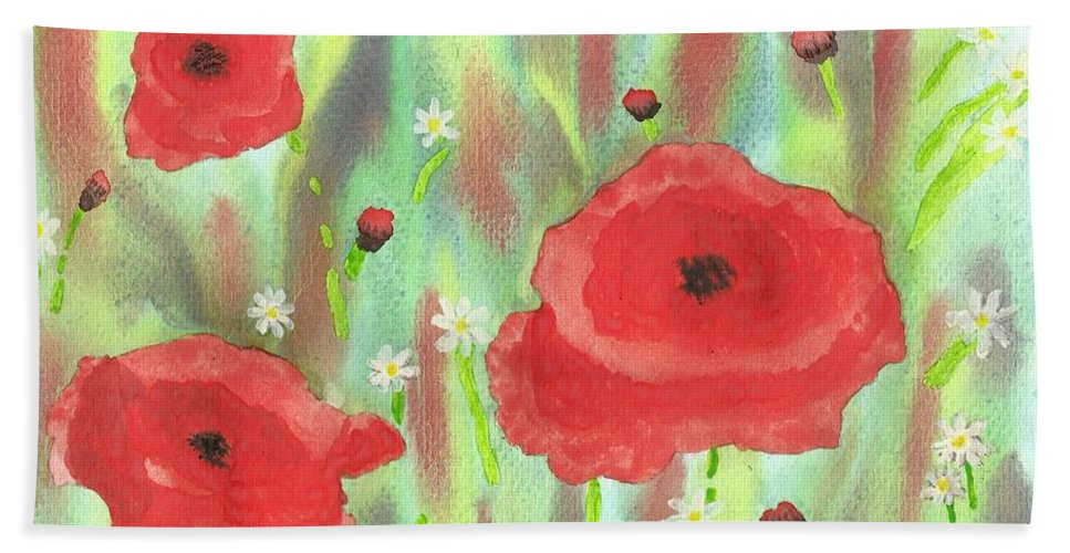 Poppies And Daisies Bath Sheet featuring the painting Poppies And Daisies by John Williams