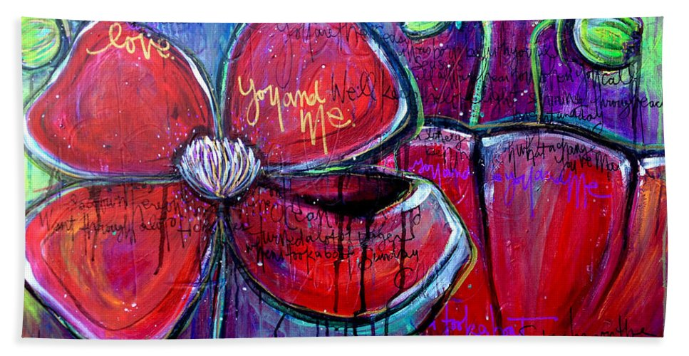 Poppies Bath Sheet featuring the painting Poppies For Sonja by Laurie Maves ART