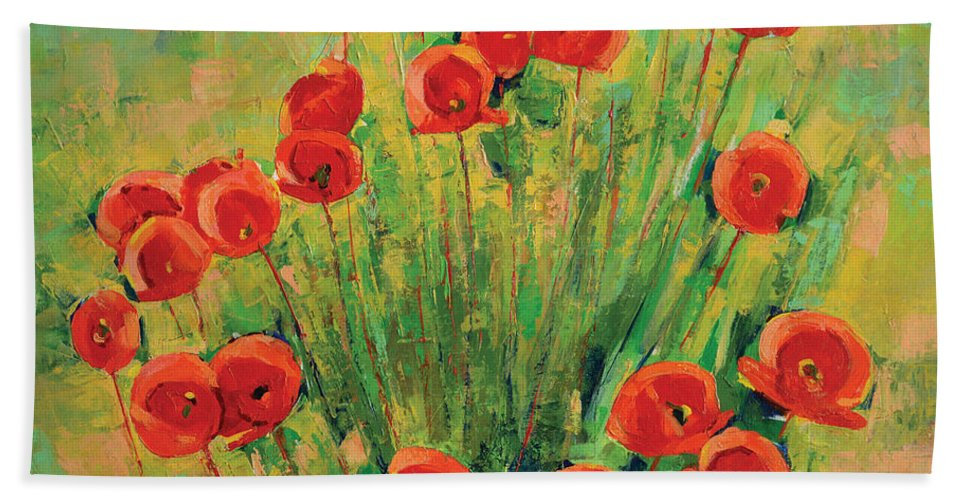 Poppies Hand Towel featuring the painting Poppies by Iliyan Bozhanov